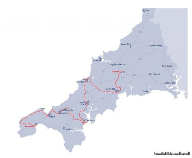 Route will go through: Penzance, St Just, St Ives, Hayle, Camborne, Pool, Redruth, Falmouth, Penryn, Truro, Newquay, St Austell and will finish in Bodmin